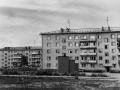Панорама улицы Дачной, дома 11 и 13 и старая агитплощадка, 1980-е годы