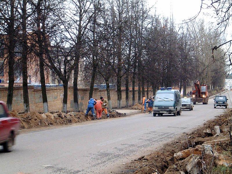Проспект Испытателей, идет реконструкция бордюров, 2004 год