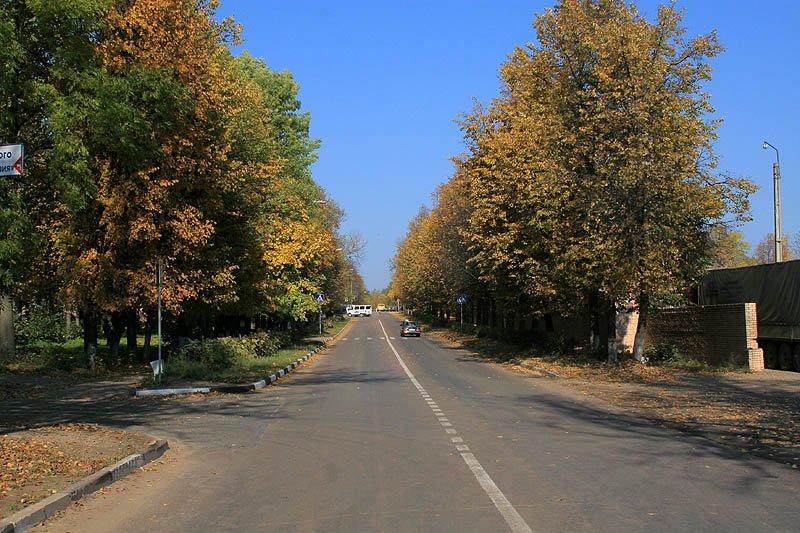 Проспект Испытателей (бывшая улица Центральная) в Красноармейске, перекресток с улицой Горького, 2007 год