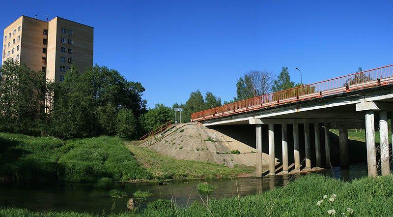 Мост через Ворю, на снимке видны основания старого моста, 2007 год