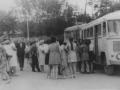 Колонна автобусов около Площади Победы, 1970-е годы