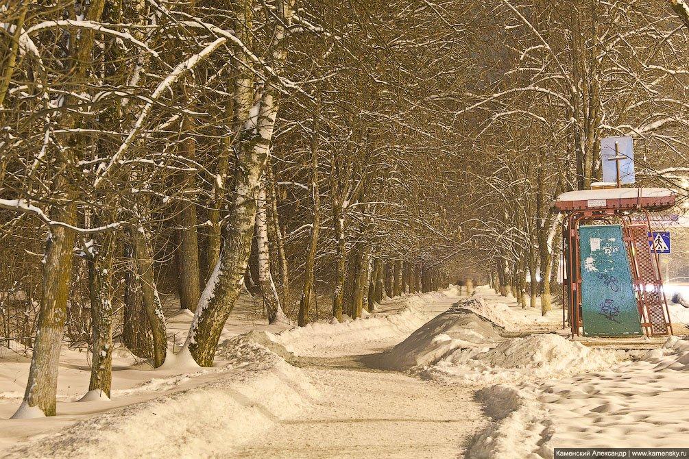 Аллея, Красноармейское шоссе параллельно улице Чкалова, вид от Новой жизни, декабрь 2012 года