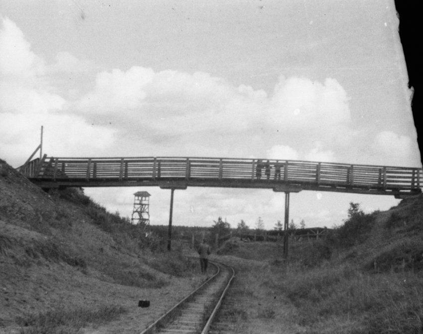 Пешеходный мост через жд-пути в районе улицы Морозова дом 13, 1950-е годы
