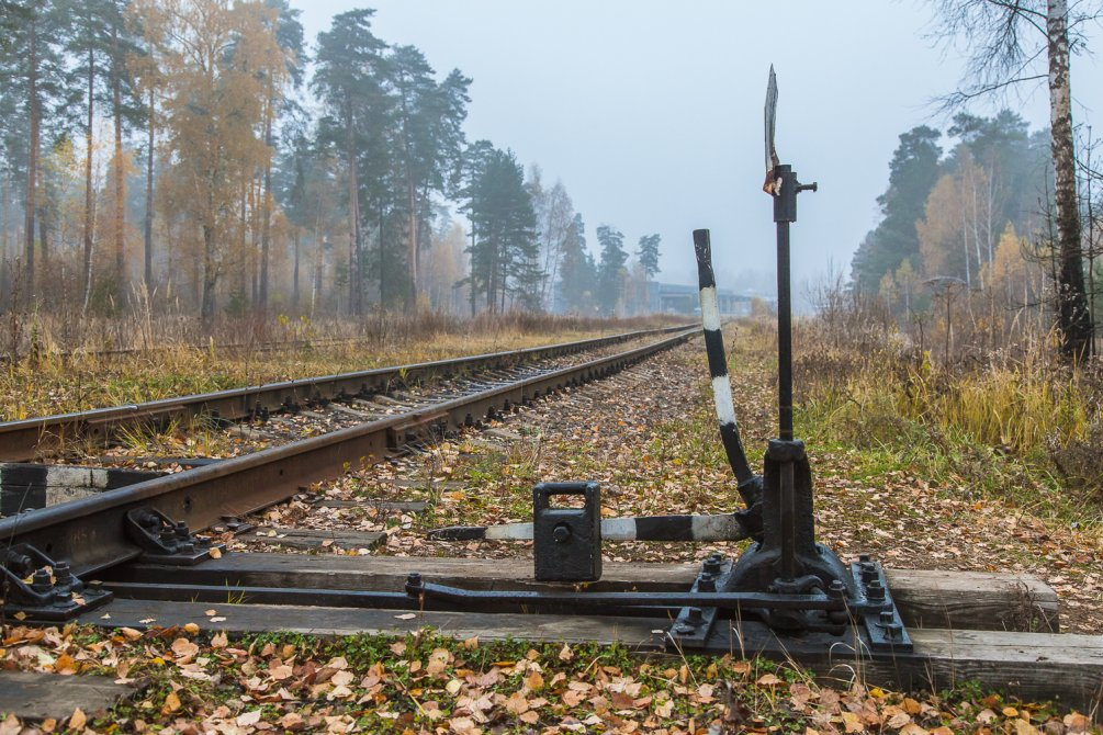 Железнодорожный разъезд около поселка УКС, октябрь 2015 года