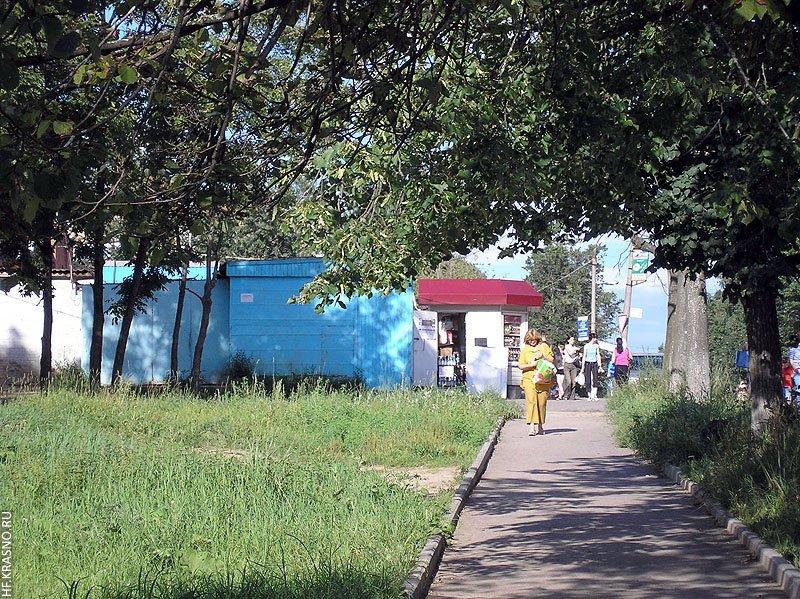 На снимке похожий ракурс — вид от улицы Строителей в сторону улицы Пионерской, июль 2005 года