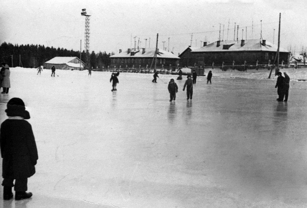 """Стадион Зенит, на заднем плане """"восьмиквартирные"""" дома, 1960-е годы"""