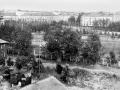 Вид на Стадионную улицу с крыши строящегося дома №7 по проспекту Испытателей, 1970-е годы