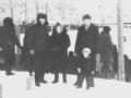 Зимой на стадионе Зенит (на заднем плане хоккейная коробка на стадионе и дом №11 по проспекту Испытателей), 1970-е годы