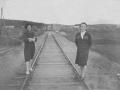 Горожане у моста новой линии широкой колеи через Ворю, 1960-е годы