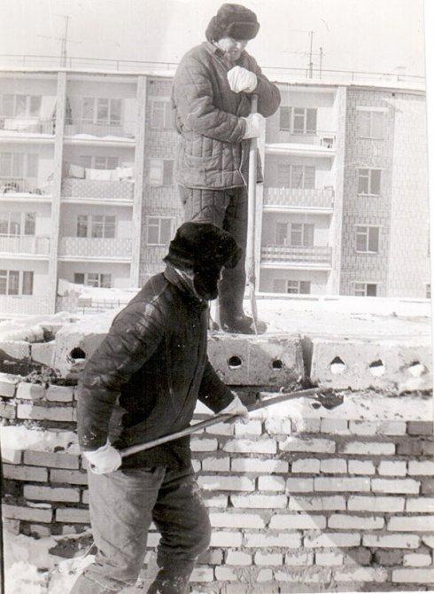 Строительство дома 16 в микрорайоне Северный, 1970-е годы