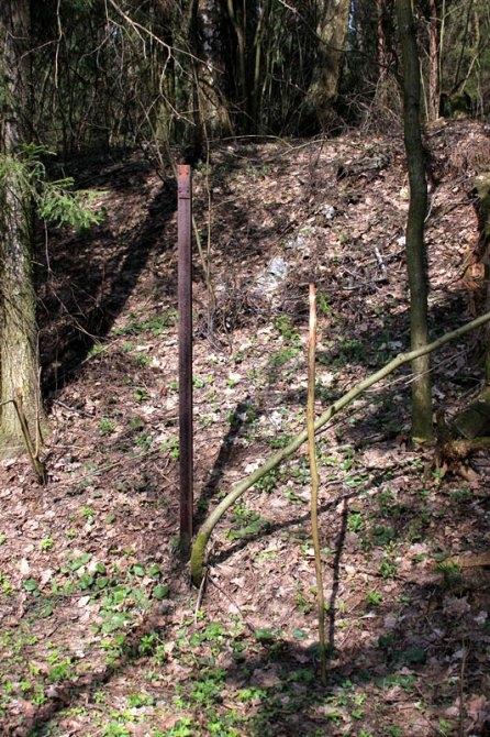 Километровый столб на линии УЖД на холмы