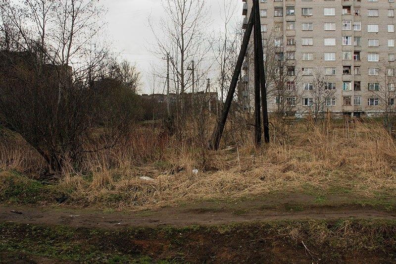 Железнодорожная и Краснофлотская улицы в Красноармейске, здесь проходили пути УЖД