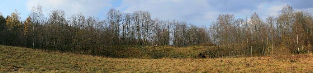 Здесь проходили пути УЖД, окрестности Федоровского, насыпь с водопропускной трубой